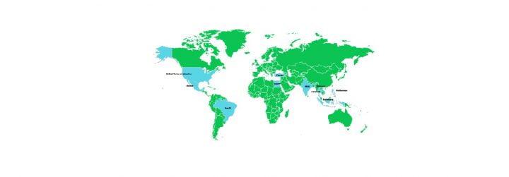 Un mapa de Facebook, la red social más extendida del mundo